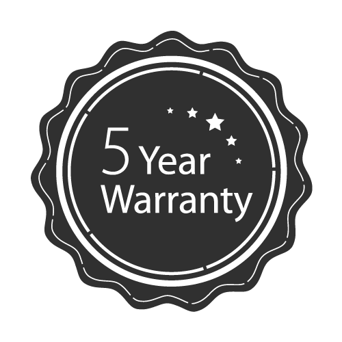 5-year warranty badge